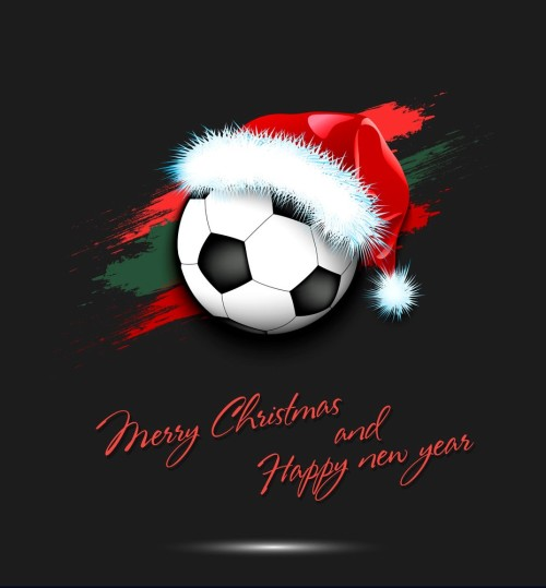 New year and soccer ball in santa hat